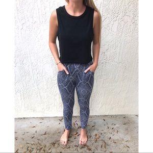H&M Dark Navy Blue Aztec Legging Pants
